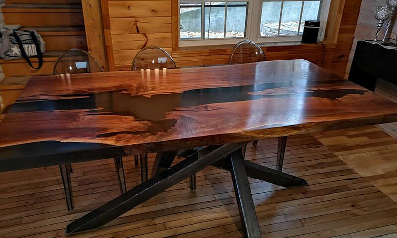 table rivière d'époxy